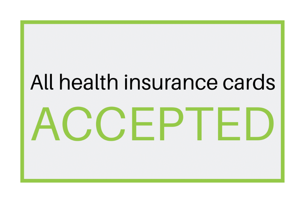 sign reads All Health insurance cards accepted