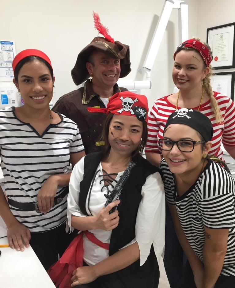 Western Smiles Dental Care staff celebrating Pirate Day dressed up as pirates